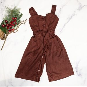 Bailey's Blossom | Suede jumpsuit brown sz 6-9 mos